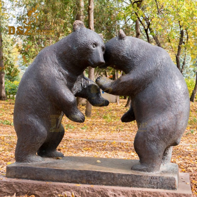 New design life-size bronze two bear fighting sculpture for sale