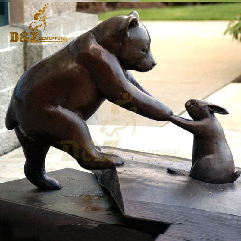 Outdoor garden metal bronze bear rabbit play sculpture for sale