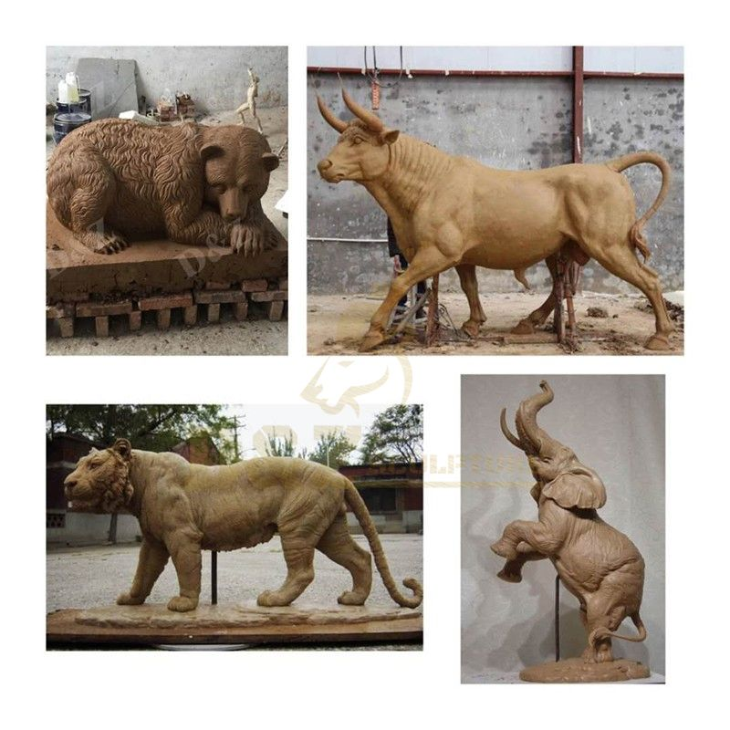 Decorative Outdoor Bronze Lion Sculpture Animal State For Garden
