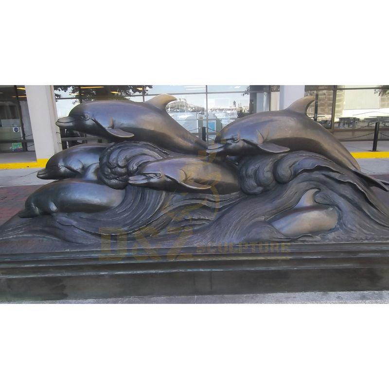 Outdoor Yard Display Large Bronze Dolphin Sculpture