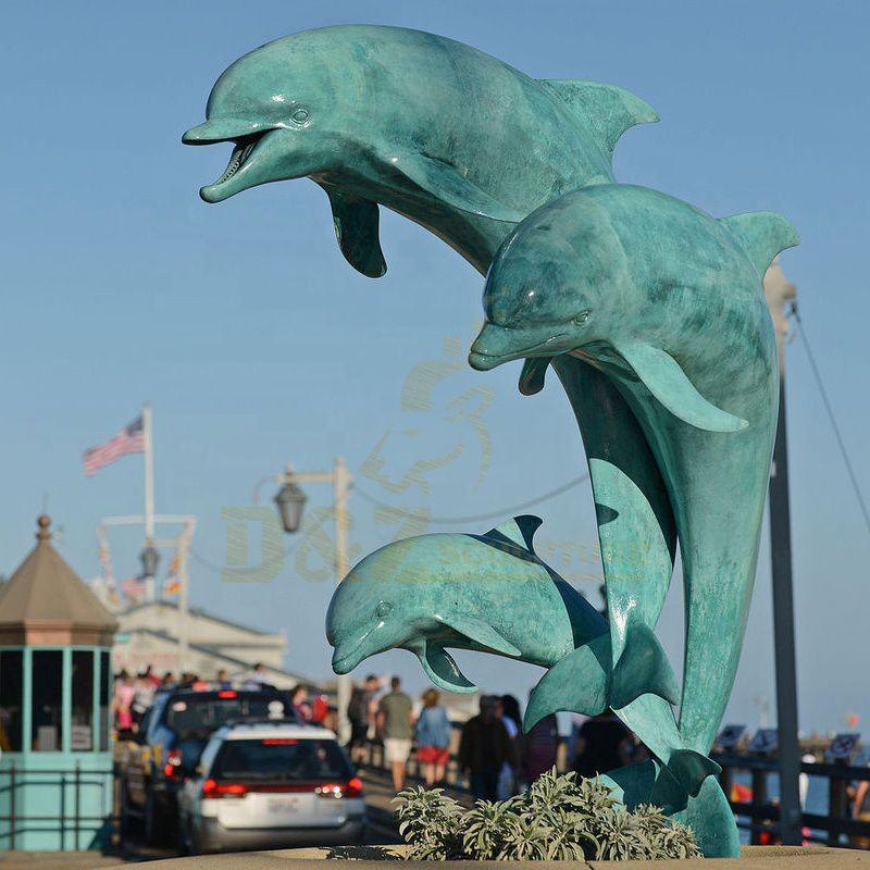 Outdoor Bronze Dolphin Statue Water Fountain Sculpture