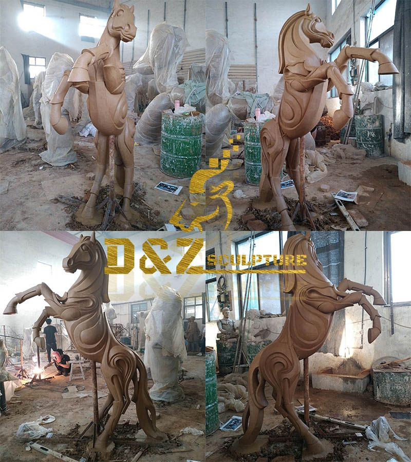Life size bronze hot sale jumping abstract horse sculpture for outdoor garden decoration
