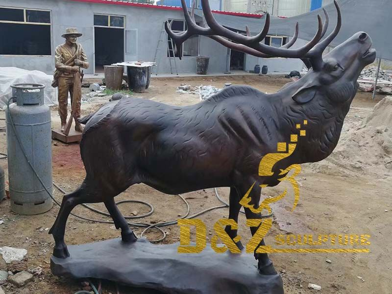 Factory custom made lost wax bronze elk sculpture matal casting decoration for garden outdoor